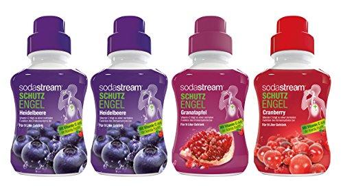 Sodastream 4er Sirup Probierset – Heidelbeere (2x), Granatapfel, Cranberry (4 x 375ml) mit Vitamin C